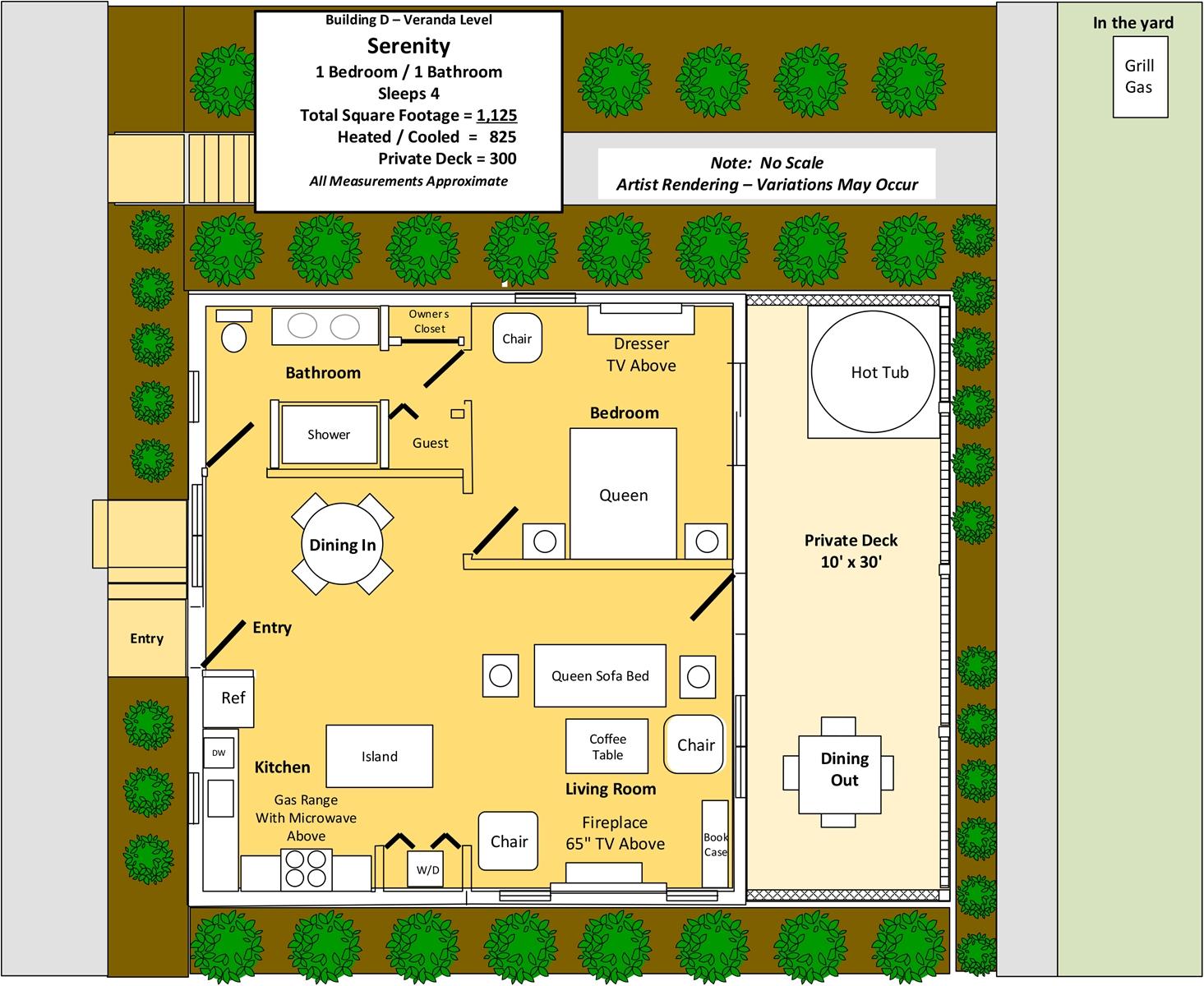 Floor Plan for Serenity Cabin